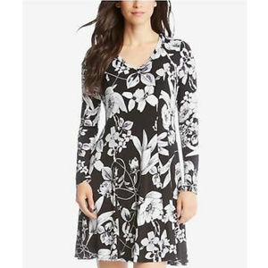 KAREN KANE Black Floral Print Long Sleeve Dress